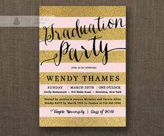 blush pink u0026 gold graduation party invitation glitter pastel pink