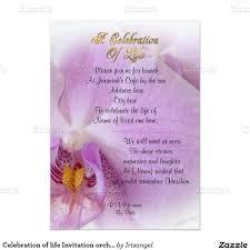 Burial Invitation Card Memorial Service Announcement Orchids 5