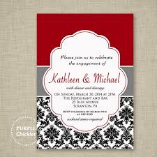 Engagement Card Invitations Wedding Engagement Dinner Party Invitation Red Black And White