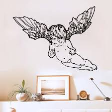 popular wallpapers cute buy cheap wallpapers cute lots from china dctop flying cherub wings angel art wall sticker removable vinyl home decor hollow out kids baby