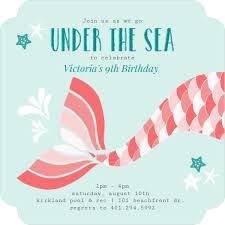 coral mermaid tail kids birthday invitation kids birthday