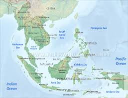 asia map and countries southeast asia physical map