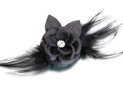 black flower black flower and feather clip pin