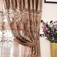 embroidery gauze brown curtains with room darkening curtains