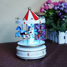 2017 new wooden carousel box with led lights desktop