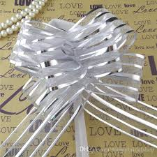 pull bows wholesale wholesale 5cm large size silver organza pull bows for wedding car