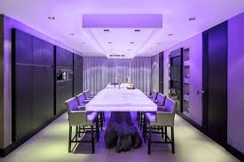 ambient purple and blue lighting for dining room plus kitchen