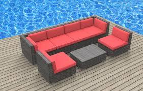 oahu 7pc ultra modern wicker patio set www urbanfurnishing net