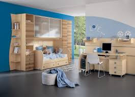 kids room casual boy bedroom design with blue wall color and