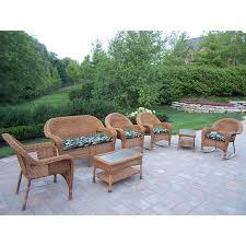 shop oakland living resin wicker 7 piece wicker patio conversation