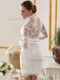 new sheath short lace wedding dresses with high neck long sleeve