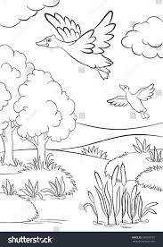 coloring pages two ducks fly under stock vector 394950139