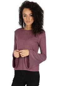 ladies 70 s frill sleeve t shirt women jumper flared top fine