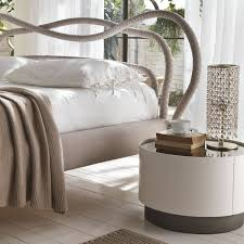 bedroom white round nightstand with cool bed for bedroom