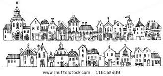 houses drawings drawings of buildings in a row simple black and white line