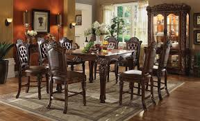 acme vendome 9pc square counter height dining room set in cherry