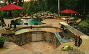 cool backyard designs with pool and outdoor kitchen design ideas