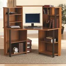 black corner desk office home computer bookcase dorm workstation