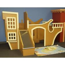 uncategorized cream castle bunk beds with slide and stair in