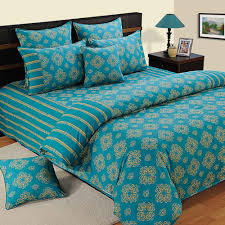 Bed Shoppong On Line Swayam Blue Cotton U2013 Extra Large Double Bed Sheet Buy Online