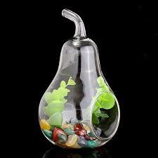 home decor pear shape crystal glass vase flower planter terrarium