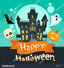 halloween house ghost pumpkin face party stock vector 316085768