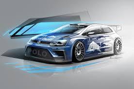 volkswagen race car volkswagen polo r wrc rally car teased in new sketch motor trend