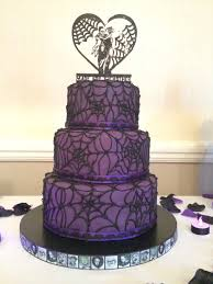 Halloween Decorations Cakes Purple And Black Sparkly Spiderweb Goth Wedding Cake With Bats And