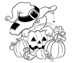 Halloween Pumpkin Coloring Page Halloween Cat Hat Pumpkin Coloring Pages Archives Gallery