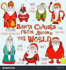 set santa clauses around world stock vector 221243002