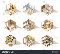 vector isometric low poly home rooms stock vector 580842049 vector isometric low poly home rooms set includes living room bathroom kitchen