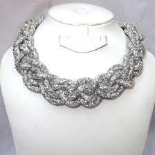 swarovski choker necklace images Elegant braided swarovski element crystal choker necklace jpg