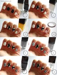 black white monochrome nail art design for beginners diy easy