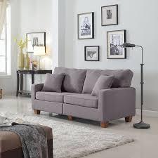 Gray Couch In Living Room Amazon Com Divano Roma Furniture 73 U2013 Inch Love Seat Linen Fabric