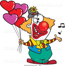 circus clipart of an enthusiastic clown singing and holding heart