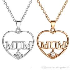 crystal heart necklace wholesale images Wholesale crystal heart mum necklace 18k gold plated love heart jpg