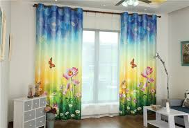 childrens bedroom curtains 3d printing cartoon flower linen kids window blackout curtain for