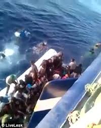 migrant boat crashes into the side of a tunisian fishing trawler