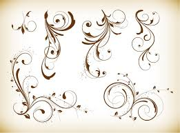 ornament desgin swirl floral elements vector illustration free