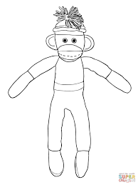 sock monkey coloring page coloring page for kids