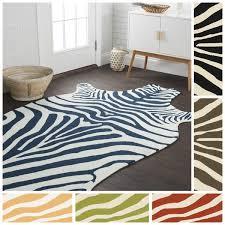 Zebra Outdoor Rug Indoor Outdoor Hand Hooked Savannah Zebra Rug 5 U00270 X 7 U00276 Free