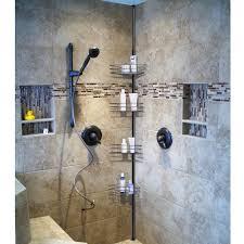 Bathroom Caddies Shower 4 Layer Metal Shower Corner Pole Caddy Shelf Bathroom Bath
