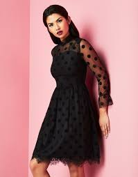 angeleye long sleeve polka lace dress lipsy