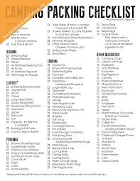 camping packing checklist free printable inspiration made simple