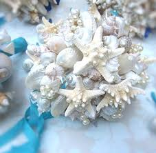 wedding bouquets with seashells seashell wedding bouquet pearls white turquoise ribbon seashells