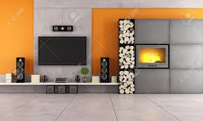 contemporary living room with white wall unit and fireplace stock