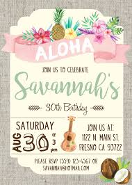 party invitation hawaiian luau birthday party invitation invite watercolor flowers