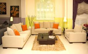 great living room with cream walls