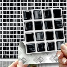18 black mosaic stick on self adhesive wall tile stickers for