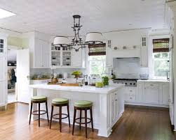 Kitchen Island With Bar Stools by Alluring Design Ideas Using L Shaped White Wooden Cabinets And